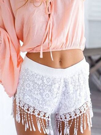 shorts girl girly girly wishlist crochet cute white white shorts tassel white crochet