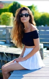 skirt,top,miniskirt,off the shoulder top,navy,crop tops,black,sleeves,opaque,shoulder free,mini skirt,white skirt,black top,sunglasses,black sunglasses,summer outfits,negin mirsalehi