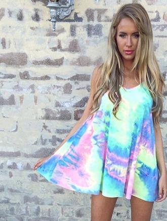 dress divergence clothing tiedyedress pastel dress rainbow rainbowdress rainbow dress tunic drress sun dress boho chic boho clothes neon dress