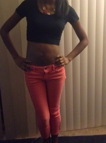 coral pink summer outfits jeans black crop tops forever 21 outfits jewels