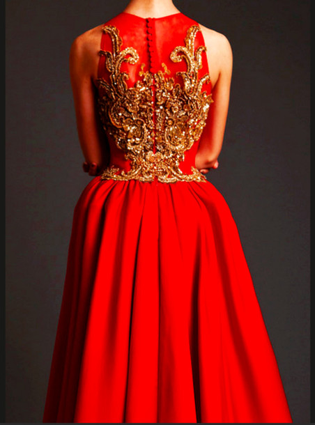 dress gold embroidered back prom dress long prom dress embroidered backless  prom dress red prom dress