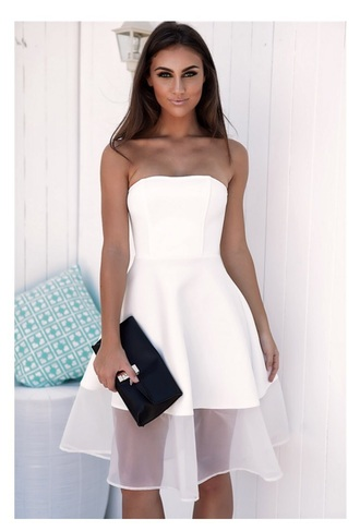 dress white strapless mid length mesh hem white dress strapeless midlength midi dress strapless dress