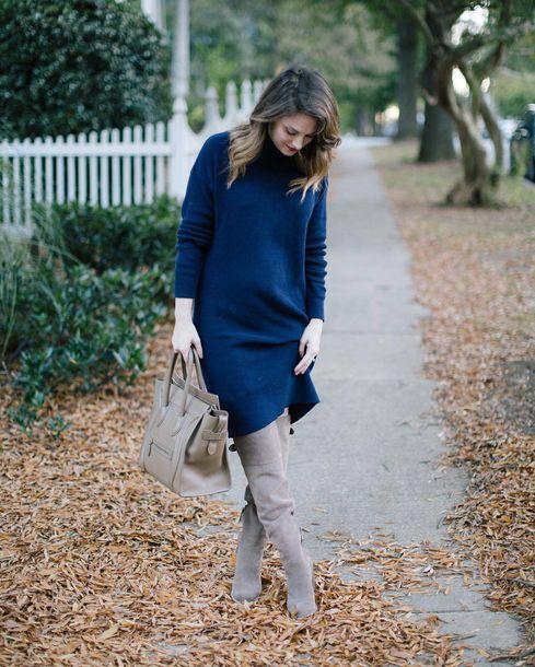 Blue dress grey boots back