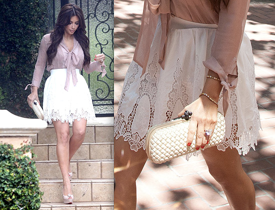 Kim Kardashian looking cute in Intermix and Quail | Celebrity Style & Fashion