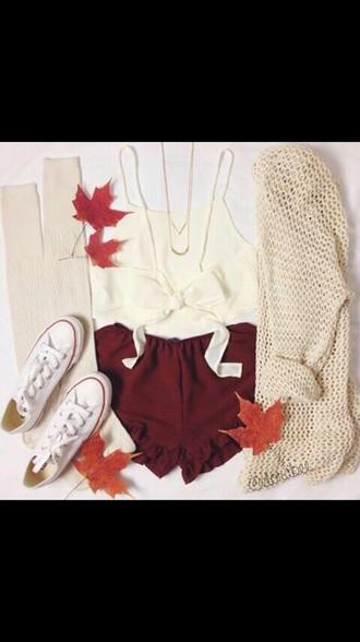 cardigan converse white converse white crop tops white shirt burgundy shorts knee high socks