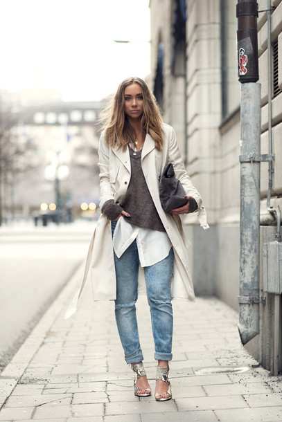 lisa olsson blogger jeans sweater shirt sandals trench coat shoes bag