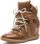 isabel marant brown buck tibetan calfskin velvet leather sneakers