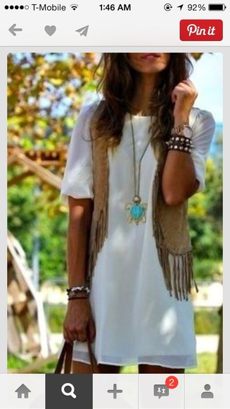 dress white dress vest bohemian boho style boho dress jacket