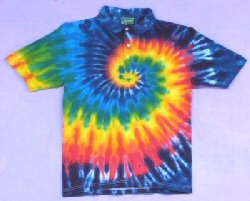 Tie-dye Rainbow Spiral Golf shirts by Dyed in Vermont