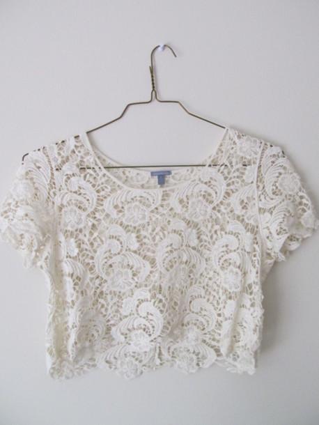 T Shirt Crop Tops White Lace Shirt Cutoff Shirt