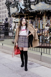 skirt,boots,black boots,coat,camel coat,mini skirt,plaid skirt,over the knee boots,over the knee,white t-shirt,t-shirt