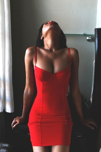 red dress bustier dress cleavage sexy dress bodycon bodycon dress party party dress date outfit short dress sexy beautiful american apparel red dress red dress short red prom dress bandage dress