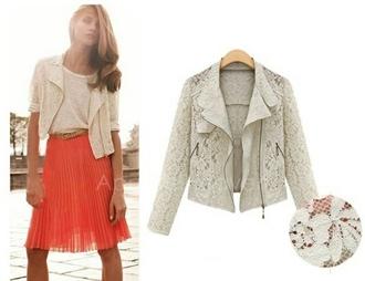 white jacket printed jacket floral transparent jacket coral skirt white lace jacket