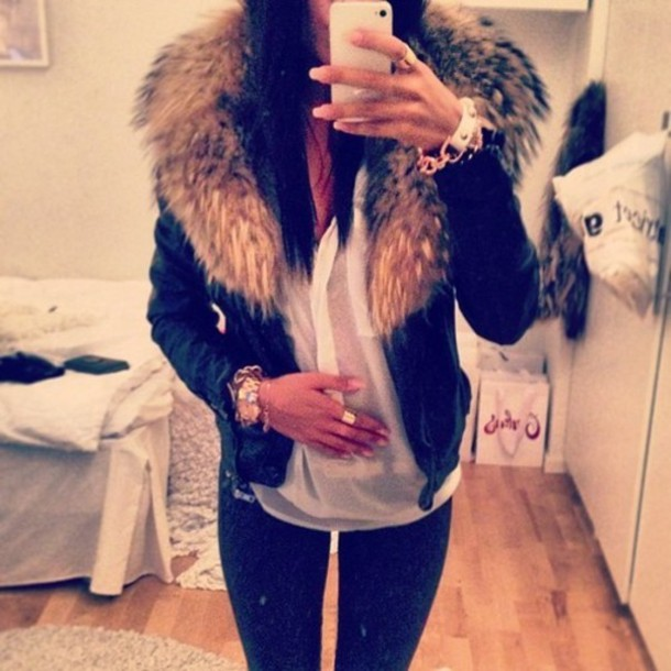 Jacket: coat, fur, black, scarf, leather jacket, leather, fourrure ...
