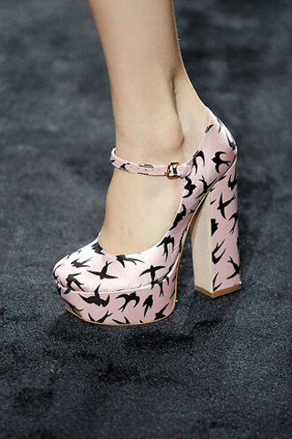 birds miu miu pink shoes high heels shoes