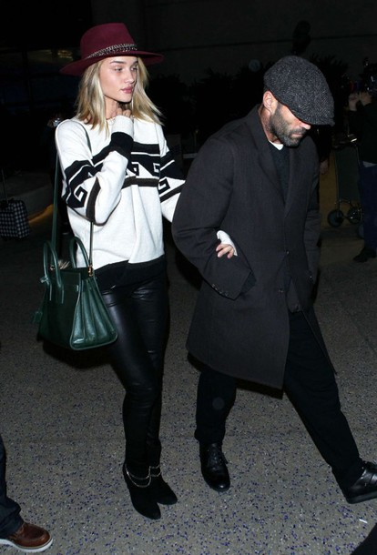 sweater rosie huntington-whiteley boots bag shoes