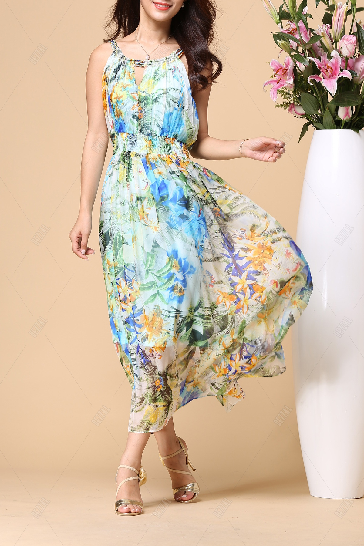 Floral Elastic Waist Beach Dress