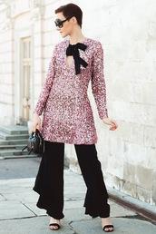 gvozdishe,blogger,dress,pants,sunglasses,shoes,bag,dress over pants,sparkly dress,sequin dress,sandals,handbag,black pants