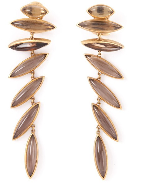 women earrings gold yellow grey metallic jewels