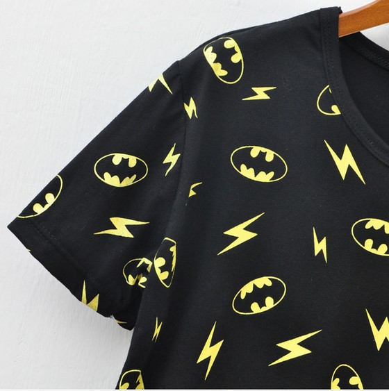 East Knitting SE 011 t shirts for women 2013 new batman lightning printed shorts sleeve tee tops black free shipping-in T-Shirts from Apparel & Accessories on Aliexpress.com