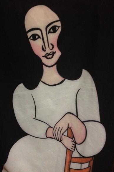 t-shirt print portrait painting lady