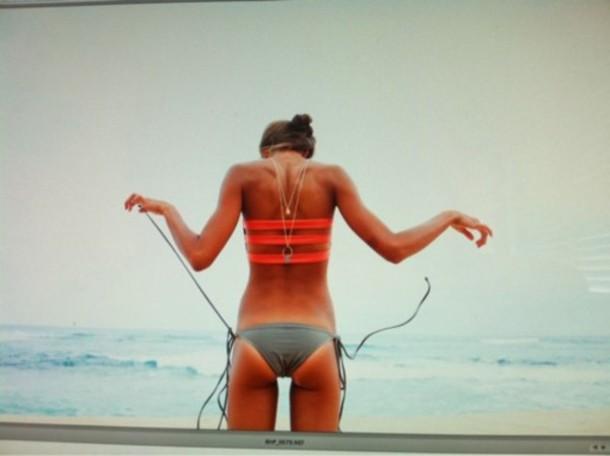 swimwear pink swimwear grey swimwear swimwear bikini bandeau straps red pink orange grey strappy beach grey