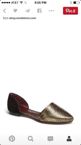 shoes metallic flats dorsay