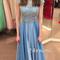 A-line round neckline beaded chiffon long prom dresses, evening dresses - 24prom