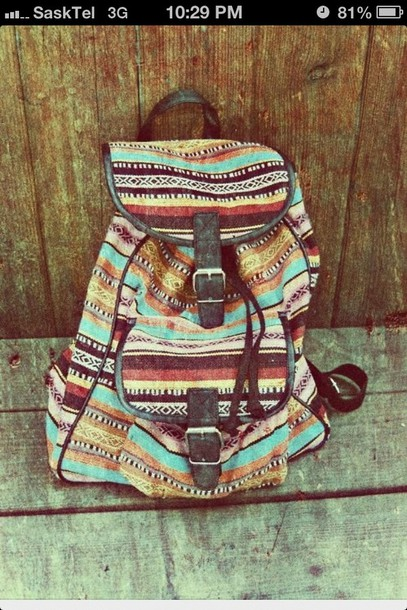 ed98b808aa589 bag backpack tribal pattern aztec hipster stripes back to school boho indie  blue brown red black