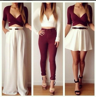 clothes crop tops jeans white skirt top burgundy crop top burgundy white crop top cut out crop top