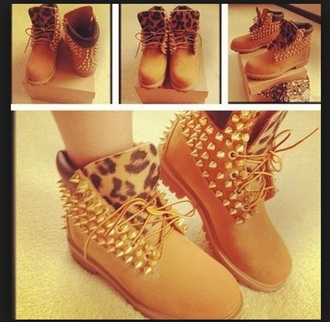 shoes boots spiked shoes leopard print tan boots