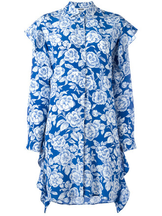 dress shirt dress women floral print blue silk