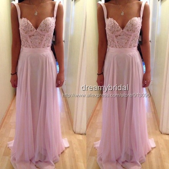 dress pink prom dress long evening dresses chiffon dress pink dress pink prom dress evening gown lace