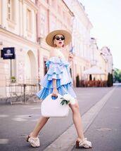 dress,blue dress,shoes,bag,sunglasses,summer,hat,off the shoulder