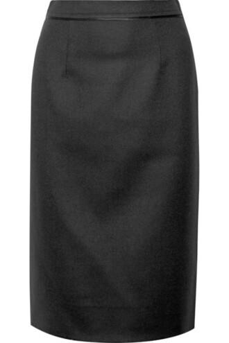 skirt pencil skirt black wool