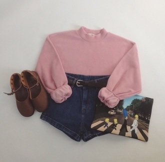 top pink sweater denim shorts brown grunge soft grunge high waisted shorts shorts pink sweater pastel pink pastel summer summer outfits