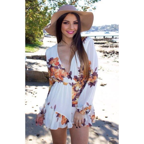 white dress romper floral fortune summer outfits summer romper playsuit jumpsuit cute spring
