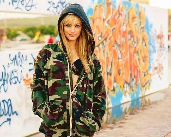 jacket militar army green jacket green blond girl