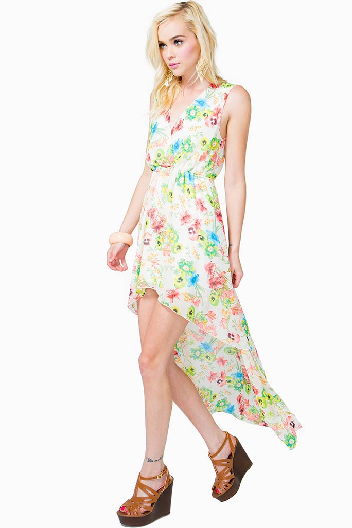 A'GACI Applique Back Floral Hi Lo Dress - DRESSES