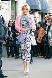 black and white,pants,earrings,accessories,miley cyrus,sandals,pink,spring outfits,jacket,purse,mules,shoes