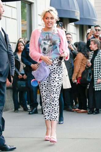 black and white pants earrings accessories miley cyrus sandals pink spring outfits jacket purse mules shoes