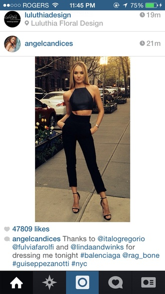 tank top candice swanepoel victoria's secret angel candices crop tops pants blouse all black everything shoes black skinny heels grey skinny tight heels quilted shirt top halter top leggings sandals high waisted pants black crop top halter neck cropped pants black pants jumpsuit