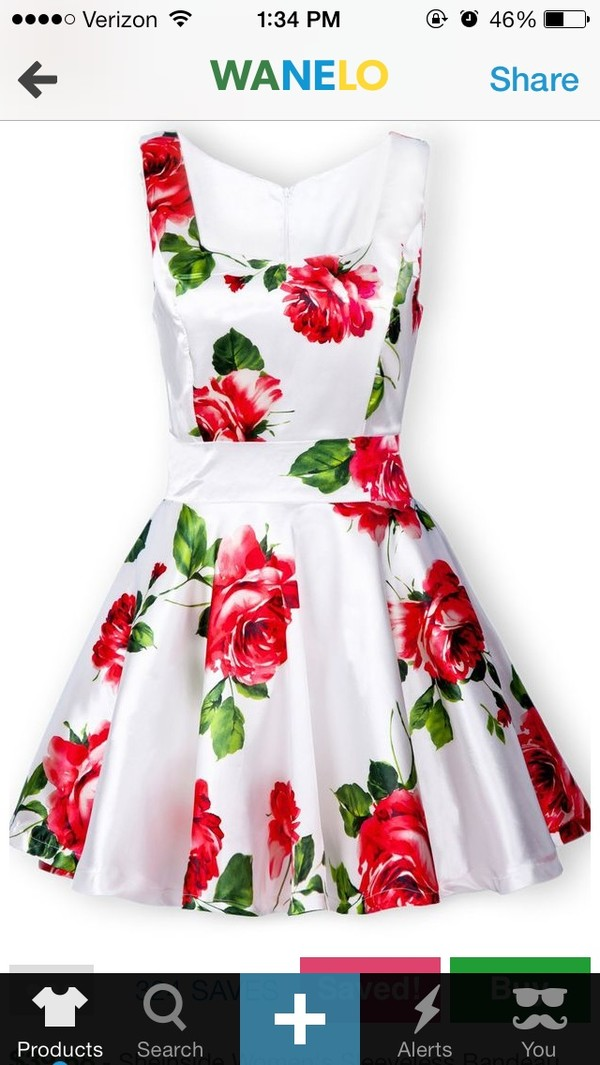 dress white dress floral vintage floral dress cute dress white and pink dress dress where to get this dress red flowers red floral dress white with red flowers