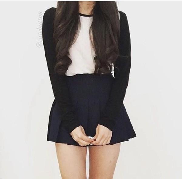Shirt Black And White Long Sleeves Skirt Black White