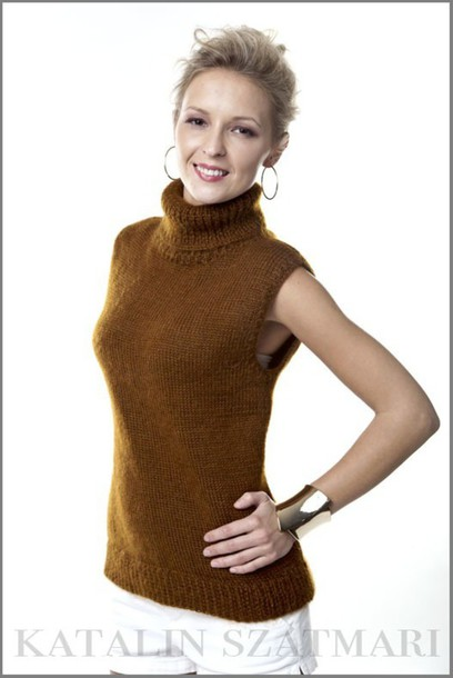 sweater brown sweater mohair top knitted top fuzzy sweater dropped shoulder sleeveless sweater turtleneck sweater angora sweater