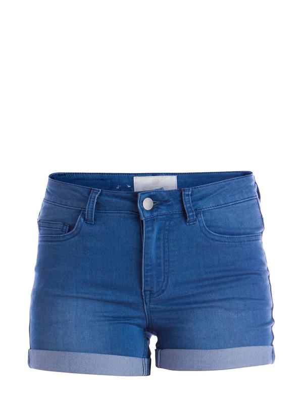 washed blue stretchable regular shorts