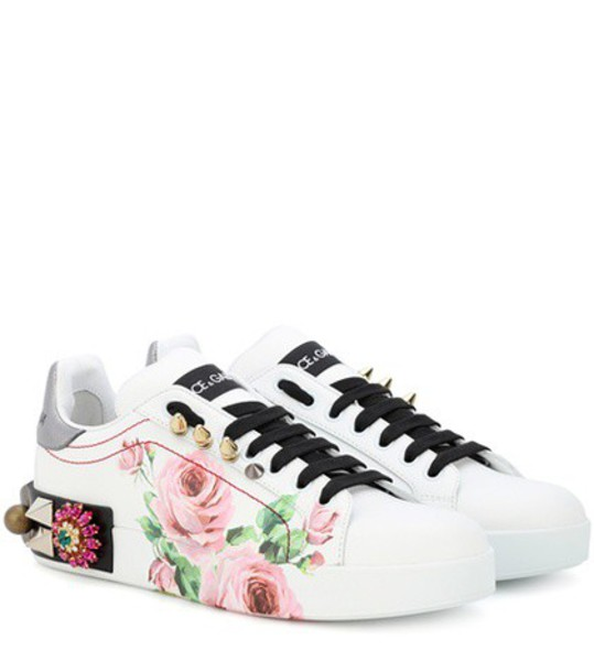 Dolce & Gabbana Embellished leather sneakers in white