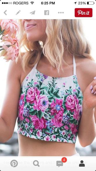 shirt pink flowers green floral tank top