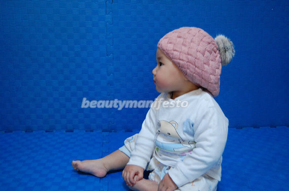 cony hair ball pink slouchy beanie 2bb731516bf