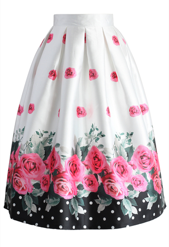 skirt dotted with roses midi skirt chicwish floral skirt midi skirt summer skirt white floral skirt